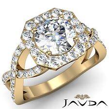 Cross Shank Halo Round Diamond Engagement Ring GIA I SI1 18k Yellow Gold 2.13ct