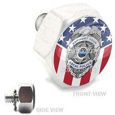 Polished  Billet Hex Air Cleaner Bolt Harley -  POLICE BADGE USA FLAG - 154