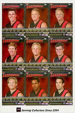 2006 AFL Teamcoach Trading Cards Silver Team set Essendon (10)