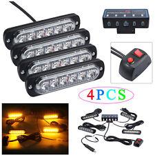 4PCS 6LED Amber Flashing Light bar Car Truck Hazard Recovery Strobe Lamp Kit 12W