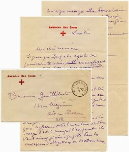 AMERICAN RED CROSS WW1 1918 ARMY POST FRANCE COVER +LTR