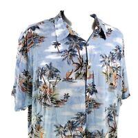 Foundry Palm Trees Cocktails Outrigger Boats Flowers 3XLT Hawaiian Aloha Shirt
