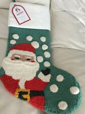 Pottery Barn Kids Hook & Loop Santa Stocking No Mono Green NWT!