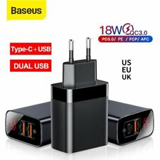 Baseus Dual USB Type C Charger PD QC Fast Charging Power Adapter EU US UK Plug
