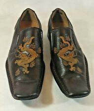 Winston Slip On Brown Dress Shoes Square Toe Embroidered Dragon Size 6.5M