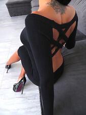 LUXUS SCHWARZ KLEID BEST STRETCH ORIGINAL DAMEN TOP A152 WOMEN SEXY DRESS S/M