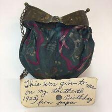 1922 Cloth Coin Purse Chain Handle Ocean Sea Life Frame Knob Handle Provenance
