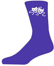 High Quality Purple Socks With Comedy And Tragedy Masks, Lovely Birthday Gift