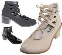 Womens Block Low Heel Cut Shoes Lace Up Sandals Summer Ladies Court Office Shoes