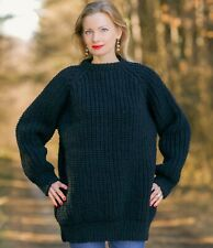 Black organic wool sweater crewneck jumper hand knitted pullover SuperTanya