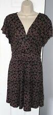 Womens🦋NEW LOOK INSPIRE🦋black flowers pattern stretch jersey tea dress size 22