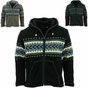 Wool Knit Chevron Hooded Jacket LoudElephant Coat Hoodie Lined Overcoat Cardigan