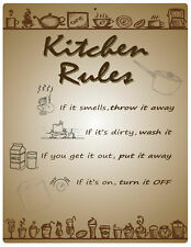 "Aluminum Sign Kitchen Rules Wall Hanging Plaque 12"" x 9"""