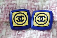 Two Stamped Chanel buttons 2 pieces   metal cc logo 1 inch 23 mm  blue