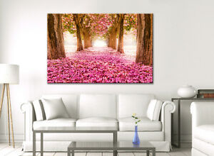 LARGE CANVAS WALL ART BEDROOM LOUNGE ROOM PINK BLOSSOM FLOWER CALM PICTURE PRINT