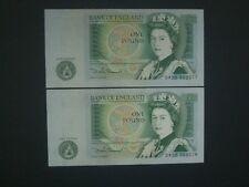 ****2 Consecutive  British***   'GEF'+  £1 Somerset 'DW' Banknotes***