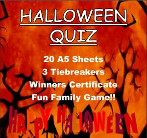 Halloween Quiz 'ALL THINGS GHOSTS & GHOULIES' - 20 Sheets - Party Fun for all!!