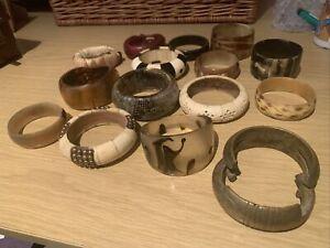 JobLot of Ethnic bangles Vintage Snakeskin,Horn,Brass, Bone Jewellery