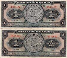 VF-XF 1945 Banco de México 1 Peso Aztec Calendar Serie Y, Pick:M4635(h) 38c