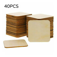 40x Wooden Blank Plaque Square Wood Pieces Tags DIY Craft Pyrography Projects