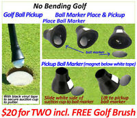 TWO No Bending Golf Ball Pick Up / No Bending Golf Ball Marker Pick Up and Place