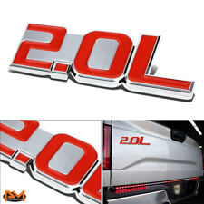 """2.0L"" Polisheded Metal 3D Decal Red&Silver Emblem For Ford/BWM/Volkswagen/Audi"