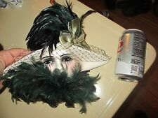 VERY UNIQUE CREATIONS Art Deco LADY WOMAN FACE Display MASK with FEATHERS