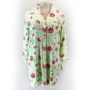 White Orchid Button Green Floral Nightie Sleepwear Pocket 3X