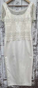 Vintage Stenay White Evening Dress  With Beaded Top Women's Size 12