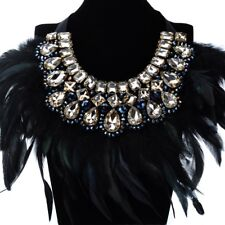 Fashion Brown Crystal Glass Black Feather Chain Choker Statement Bib Necklace