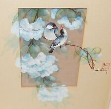 JOHN CHENG BIRDS ON BLUE BLOSSOM TREE ORIGINAL SIGNED WATERCOLOR PAINTING
