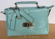 Fashionable Leather Handbag Crossbody Mint Blue Women Bow Accent Shoulder Strap