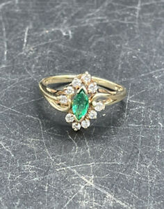 Marquise Cut Emerald and Diamond 14K yellow Gold Ring Cluster Style 2.1g Size 5