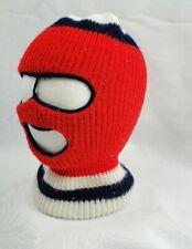 Vintage 70s 80s Knit Ski Robber Mask USA Full Face Red, White, Blue Winter