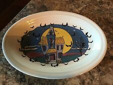 Fiesta Ware HALLOWEEN NIGHT Haunted House Oval Platter Homer Laughlin