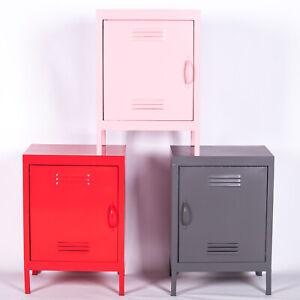 Retro Industrial Metal Locker Storage Bedside Cabinet Side Table Cupboard