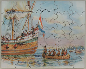 """Vintage Tuck's Popular Picture Puzzle wooden jigsaw. """"Meet with the Indians"""""""