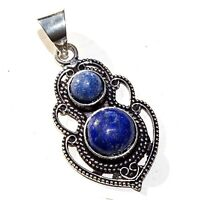 925 Sterling Silver Plated Lapis Lazuli Pendant Ethnic Jewelry SHNP17
