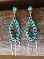 Zuni Indian Jewelry Sterling Silver Turquoise Post Dangle Earrings! Unkestine