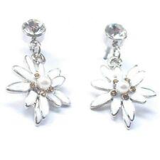 Trachtenschmuck Edelweiss mit Perle Ohrringe Ohrhänger Kristall zum Dirndl M94