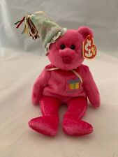 Ty Beanie Babies January Birthday Bear With Party Hat Hot Pink Celebrate