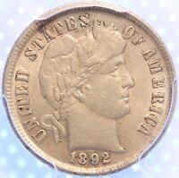 1892 P BARBER DIME, PCGS AU58, LUSTROUS, ORIGINAL AND PROBLEM FREE, CLASSIC!