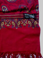 TOOTAL REVERSIBLE FRINGED SCARF RED PAISLEY PATTERN VINTAGE TOOa203 #
