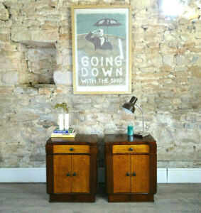 Pair Vintage Art Deco 1920s 30s Maple bedside tables cabinets drawers DELIVERY