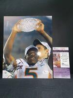 ANDRE JOHNSON MIAMI HURRICANES SIGNED 8X10 PHOTO JSA COA T38779 2001 CHAMPIONS