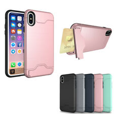 For iPhone X 8 7 Kickstand Case Shockproof Back Card Clip Stand Phone Case Cover