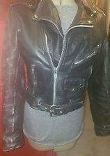vintage womens distressed classic rock n roll black leather moto jacket