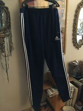 Adidas Mens XL CLIMACOOL Athletic Training SPORT Long Pants NAVY 3 White Stripes