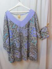 Soft Focus Ladies Top Blouse T Lavender Turqu. Black Paisley 3/4 Slv Plus 3X *
