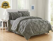 Silky Soft Pintuck Bed-in-a-Bag 8-Piece Comforter Set -HypoAllergenic - Full/Qu